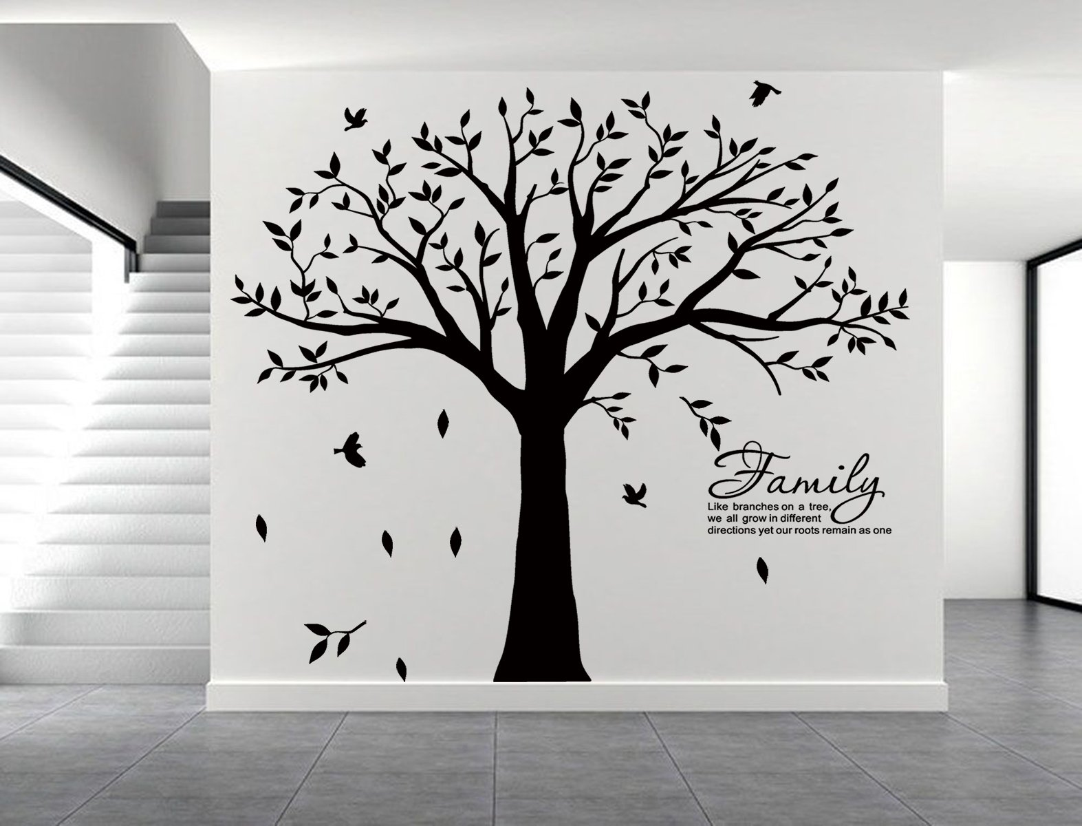 LUCKKYY Grant Family Tree Wall Decal with Family Like Branches on a Tree Quote Wall Decal Tree Wall Sticker (83'' Wide x 83'' high) (Black) by LUCKKYY (Image #3)