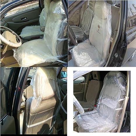 Estink 100 Pcs Plastic Car Seat CoversDisposable Vehicle Protector Mechanic Valet Pet Covers