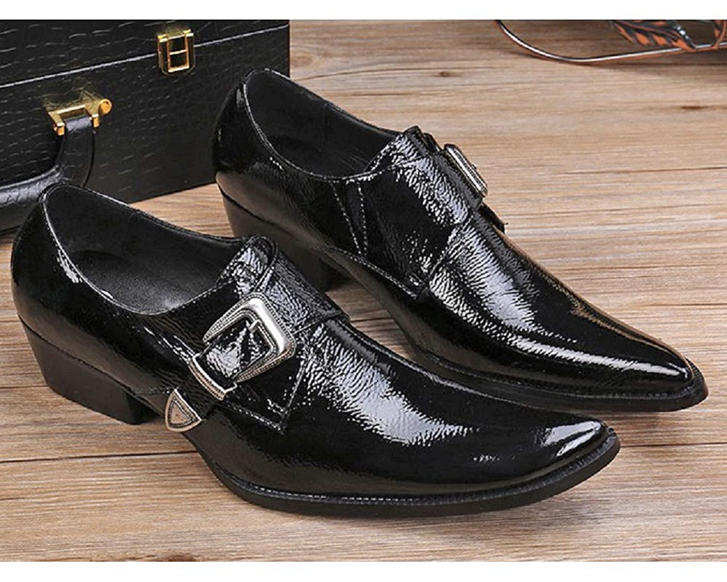 Size 5-12 New Black Genuine Leather Mens Slip On Buckle Formal Business Dress Suit Loafers Shoes