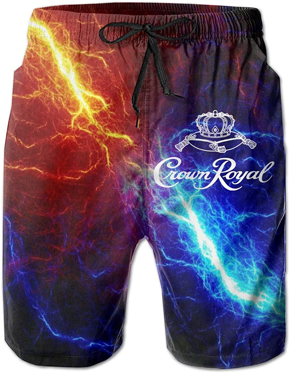 DOU-YU Cro-Wn Ro-Yal Men's Beach Shorts Quick-Drying Swim Trunks Beach Shorts Board Shorts for Summer Holiday