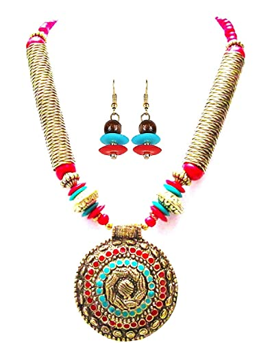 Buy arittra red crystal pendant necklace with earring jewellery set arittra red crystal pendant necklace with earring jewellery set for women aloadofball Image collections