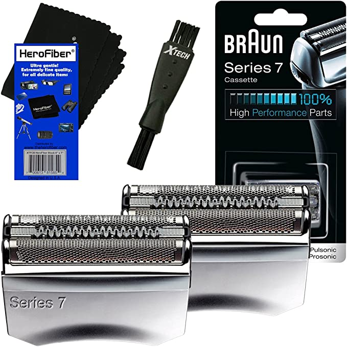 Braun 70S Serie 7 - Cabezal de Recambio para 720, 730, 760, 765, 789 790, 795, 797, 799, 9565, 9566, 9585, 9595, 9781, 9782, 9785, 9795 + Cepillo de Afeitar + HeroFiber (2 Unidades): Amazon.es: Electrónica