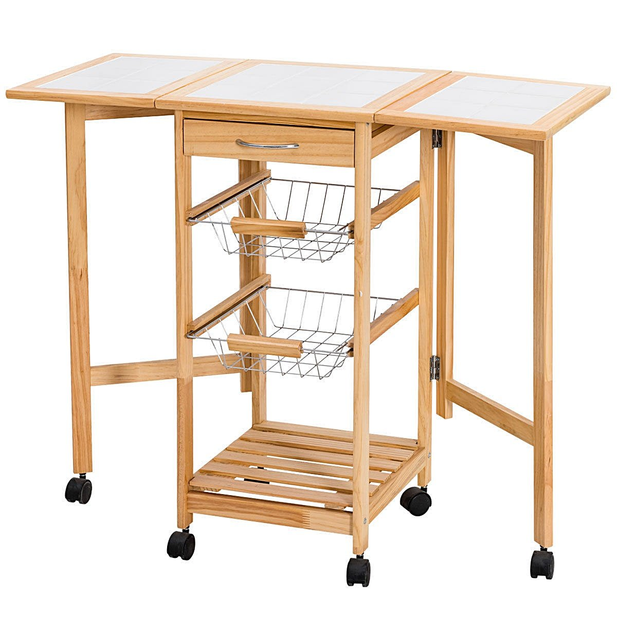 Lapha' Folding Table Portable Rolling Wood Kitchen With DrawerTrolley Island Cart Drop Leaf Desk Storage Drawers Rack Basket Party Serving Carts