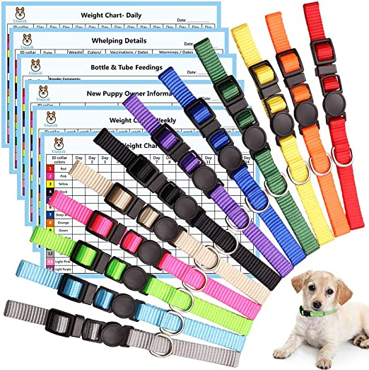 12 PCS Puppy Collars for Litter Puppy ID Collars Whelping Puppy Collars Safety Buckle Soft Nylon Breakaway Collars with 6 Record Keeping Charts(S)