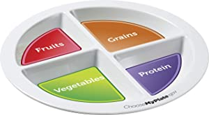 MyPlate Materials Portion Plate for Adults & Teens - No-BPA Melamine Food Divider, Divided Compartments for Meals - Supports Healthy Weight Loss & Diet Control - Dishwasher-Safe Meal Dish