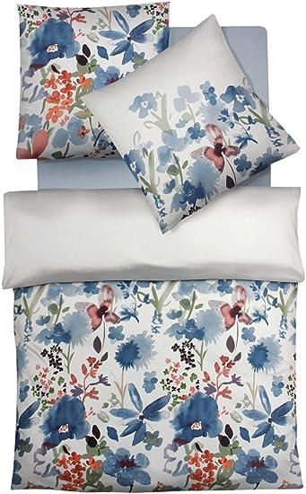 Fleuresse Mako Satin Bettwäsche 155x220 Blumen Blau Koralle Pastell