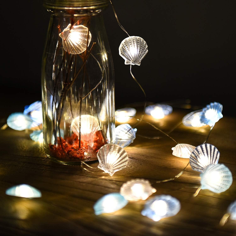Catena Luminosa Esterno Interni Lucine led Decorative Luci Led a Batteria Marino Stella Di Mare Conchiglie per Decorazioni Compleanno Matrimonio Illuminazione Giardino Camera da Letto Parete