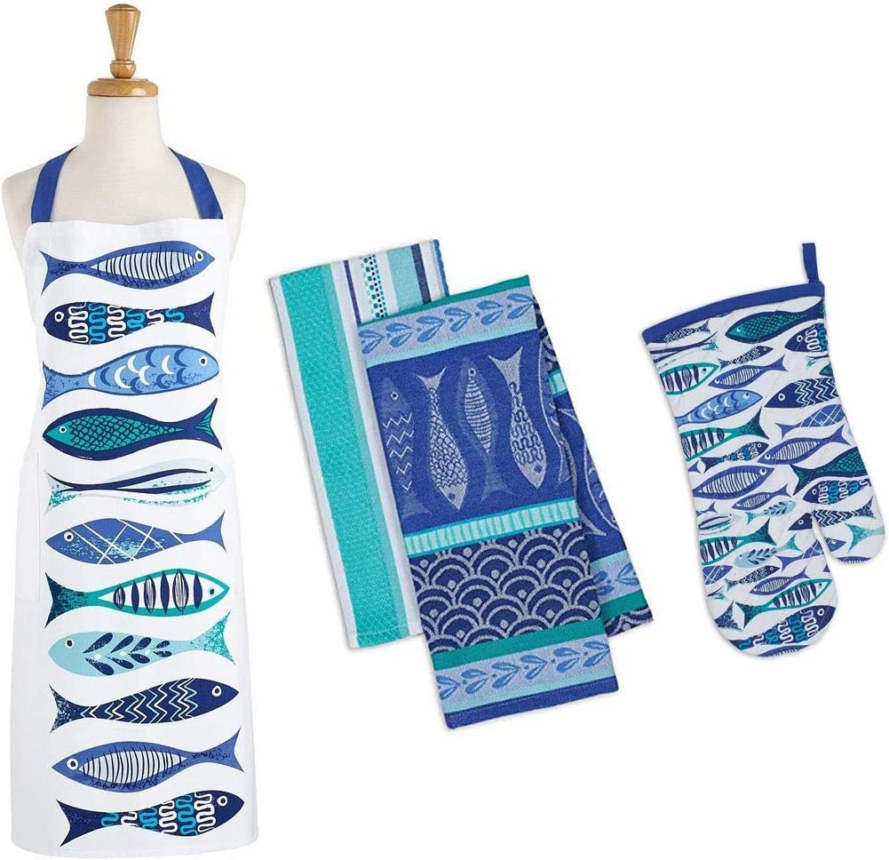 Lynn's Herb Garden LLC Blue Fish Apron Oven Mitt and 2 Matching Dish Towels Set 4 Pieces Total Bundle