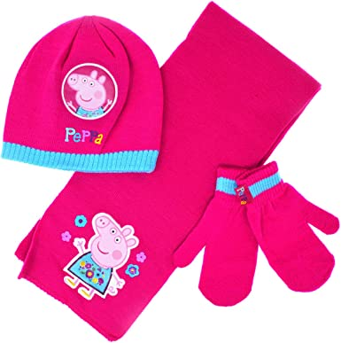 Bnwt Officiel PEPPA PIG Hiver Beanie Knitted Hat Bow filles Rose Tailles 3-7 ans