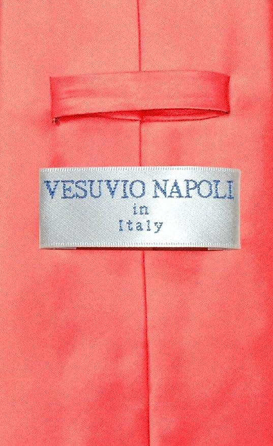 VESUVIO Napoli sólido coral de color rosa juego de corbata y ...