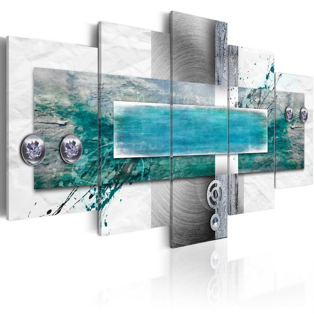 Konda Art Large 5 panels Abstract Canvas Wall Art Blue Painting Modern HD Print Picture Home Decorative Framed Artwork Hanging for Living Room Ready to hang (W60 x H30, Flood tide)