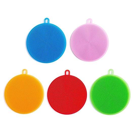 herramientas de limpieza esponjas de cocina 4 esponjas de cocina y 2 piezas de gancho de silicona para fregar platos utensilios de lavado Esponja de silicona para platos accesorios de cepillo