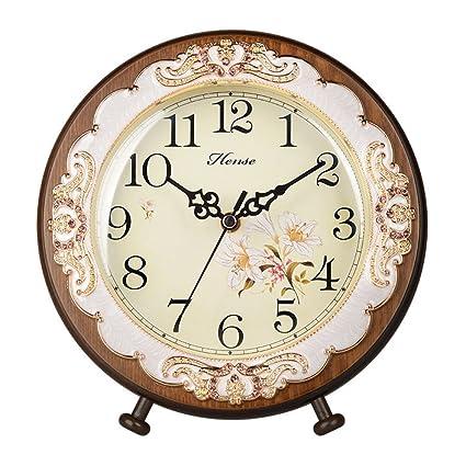 decorative desk clocks hense victorian garden living room decorative desk clocks silent non tick sweep second wooden table clock amazoncom