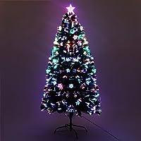 5FT Christmas Tree 1.5M Pre-lit Optic Fibre Xmas Faux Tree Multi-Colour Lighting Effect Jingle Jollys Holiday Decoration…
