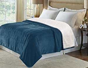 MARQUESS King Size Electric Blanket Throw,Flannel Sherpa Washable and Comfortable Heated Blanket with 4 Settings, Safety 10 Hours Auto-Off &Dual Temperature Dual Control by One Blanket