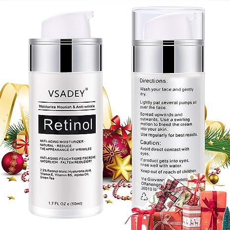 VSADEY Crema Antiarrugas Facial para Día y Noche 2.5% Retinol Crema Hidratante Facial Mujer,