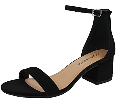 6379b91cf7f City Classified Women s Open Toe Ankle Strap Chunky Block Heel (Black Nbpu