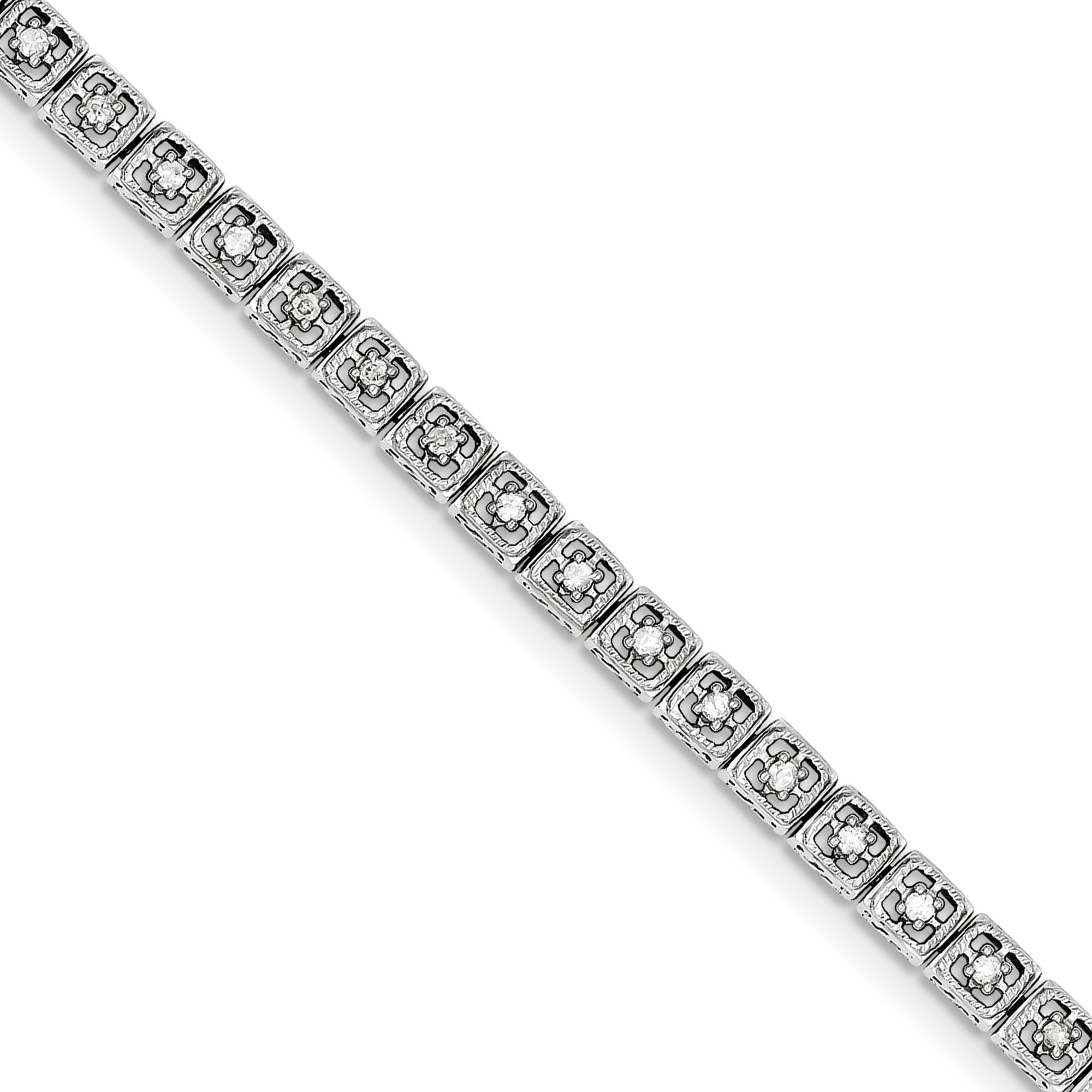 ICE CARATS 925 Sterling Silver Diamond Square Link Bracelet 7 Inch Fine Jewelry Gift Set For Women Heart