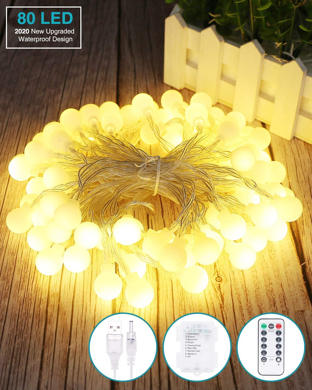 Boda Jardines 8M 80 LED Guirnaldas 8 Modos Led Luces Fiesta de Navidad Interior Kolpop Guirnalda Luces Led Luces Led Decorativas Guirnalda Led Pilas Decoracion Pilas para Exterior Casas
