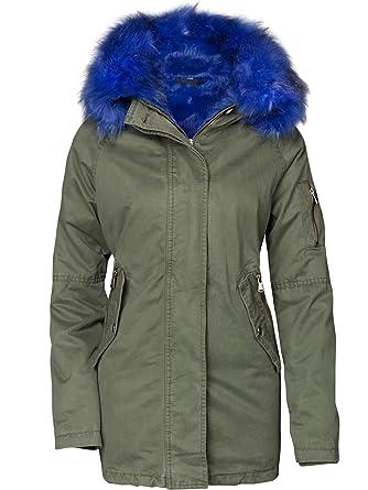 check out cda7f 0150d S'West Damen Winterjacke Baumwolle Teddy BUNT Fell Kragen Military Cotton  Parka Mantel