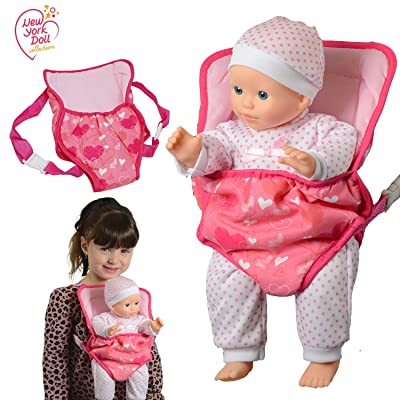 New York Doll Collection Baby Doll Carrier Backpack Front and Back fits up to 20 inch Dolls - Fun Babydoll Accessories: Toys & Games