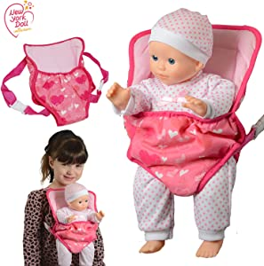 New York Doll Collection Baby Doll Carrier Backpack Front and Back fits up to 20 inch Dolls - Fun Babydoll Accessories