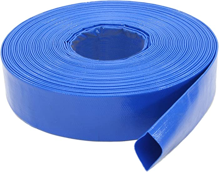 Abbott Rubber 1147-1500-100FT General Purpose Reinforced PVC Lay-Flat Water Discharge Hose, 1-1/2-Inch by 100-Feet, Blue