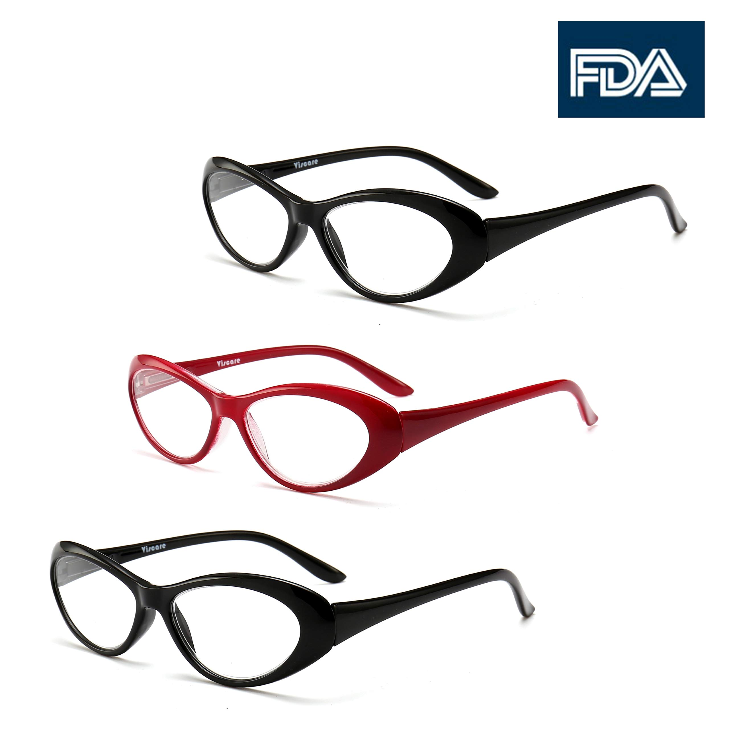 Viscare Cateye Butterfly Reto Vintage Fashion 3-Pack Reading Readers Glasses (Red+Black, 2.50)