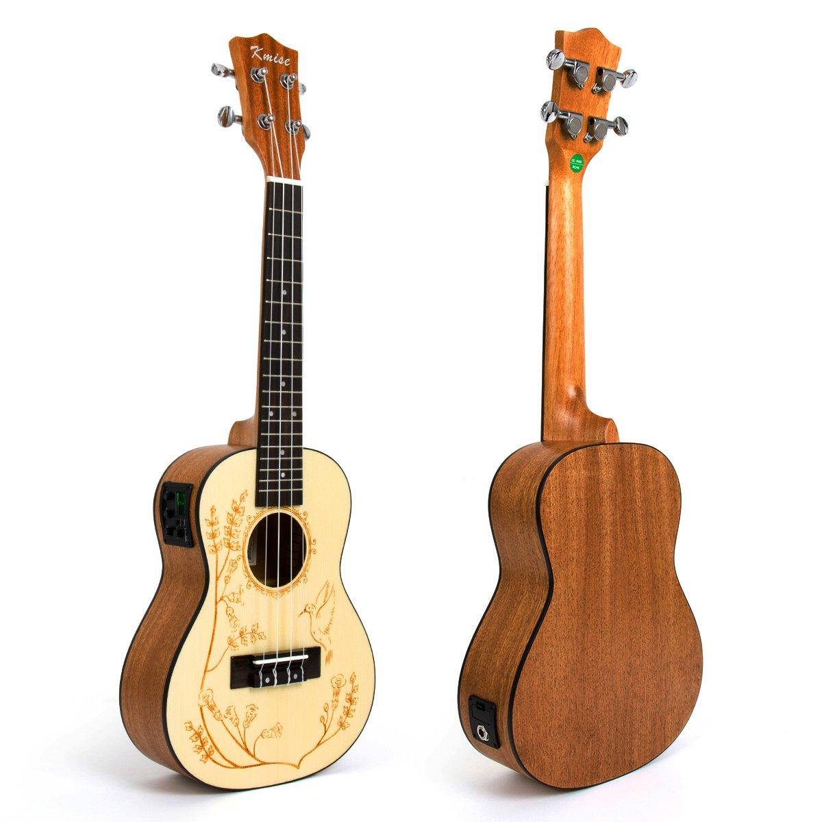 """Kmise Soild Spruce Ukulele 24"""" Electric Acoustic Concert Ukelele Uke Hawaii Guitar"""