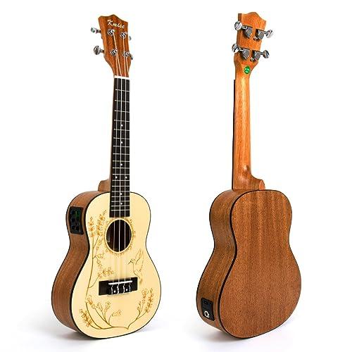 Electric Acoustic Ukulele Solid Spruce 23 Inch Concert Ukelele Uke Hawaii Guitar