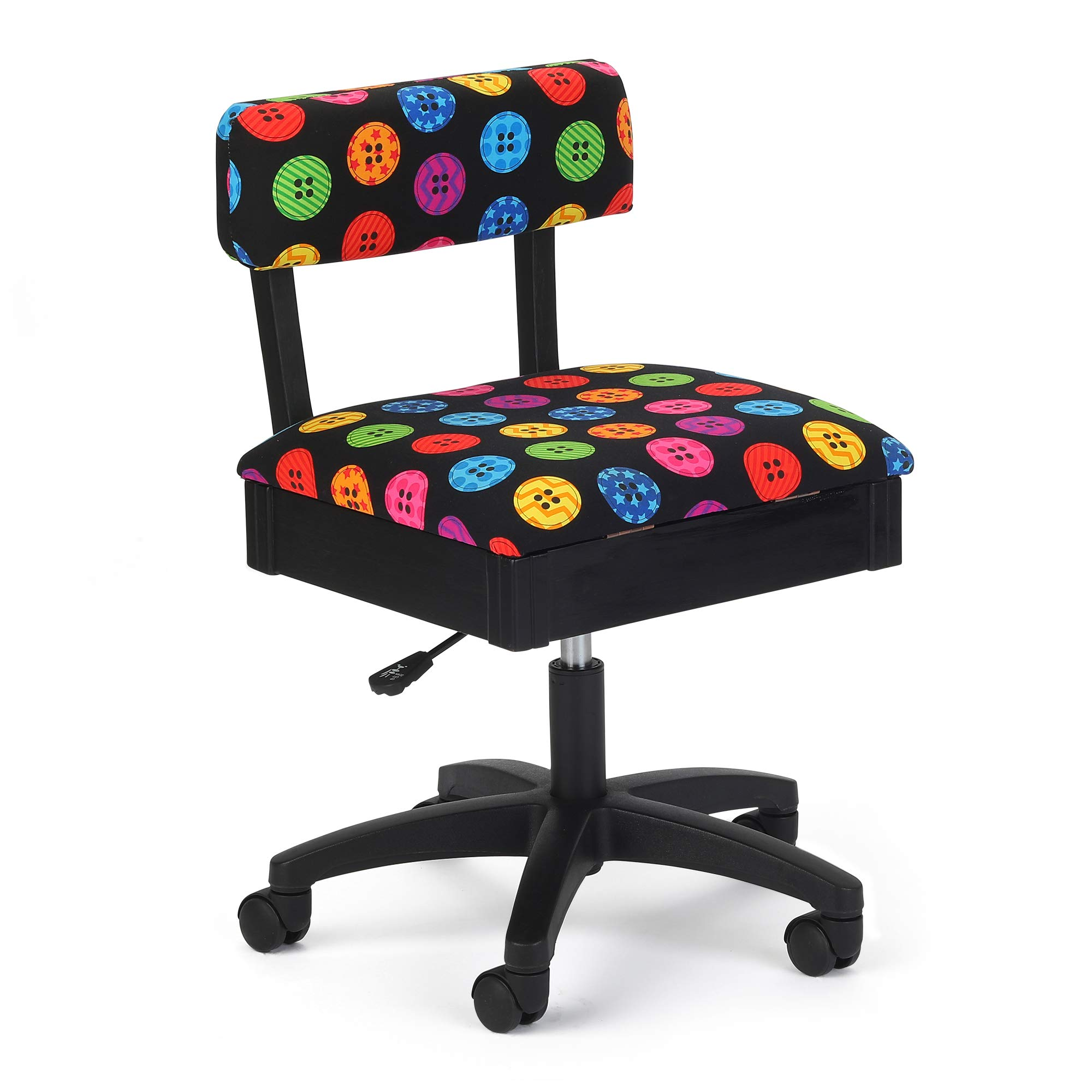 Arrow Hydraulic Sewing Chair with Riley Black Button Motif Fabric by Arrow Sewing Cabinets