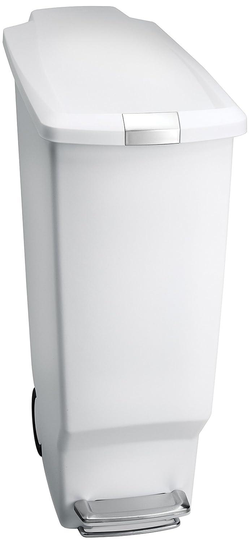 simplehuman Slim Plastic Step Trash Can, White Plastic, 40 L / 10.6 Gal