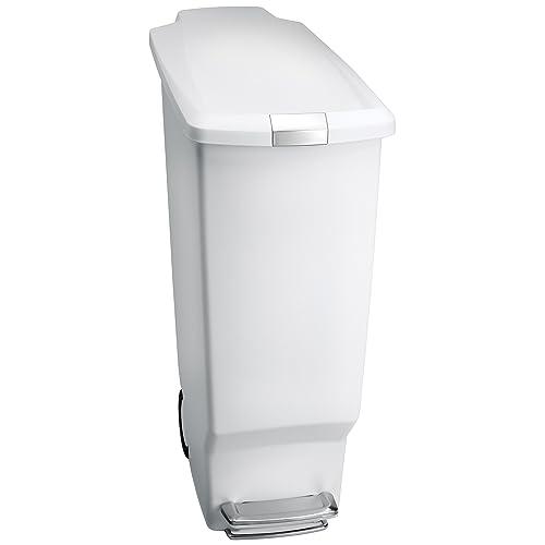 simplehuman 40 litre slim pedal bin white plastic