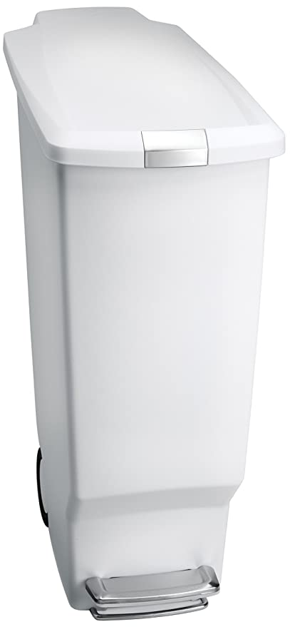 Simplehuman 40 Liter / 10.6 Gallon Slim Kitchen Step Trash Can, White  Plastic With Secure