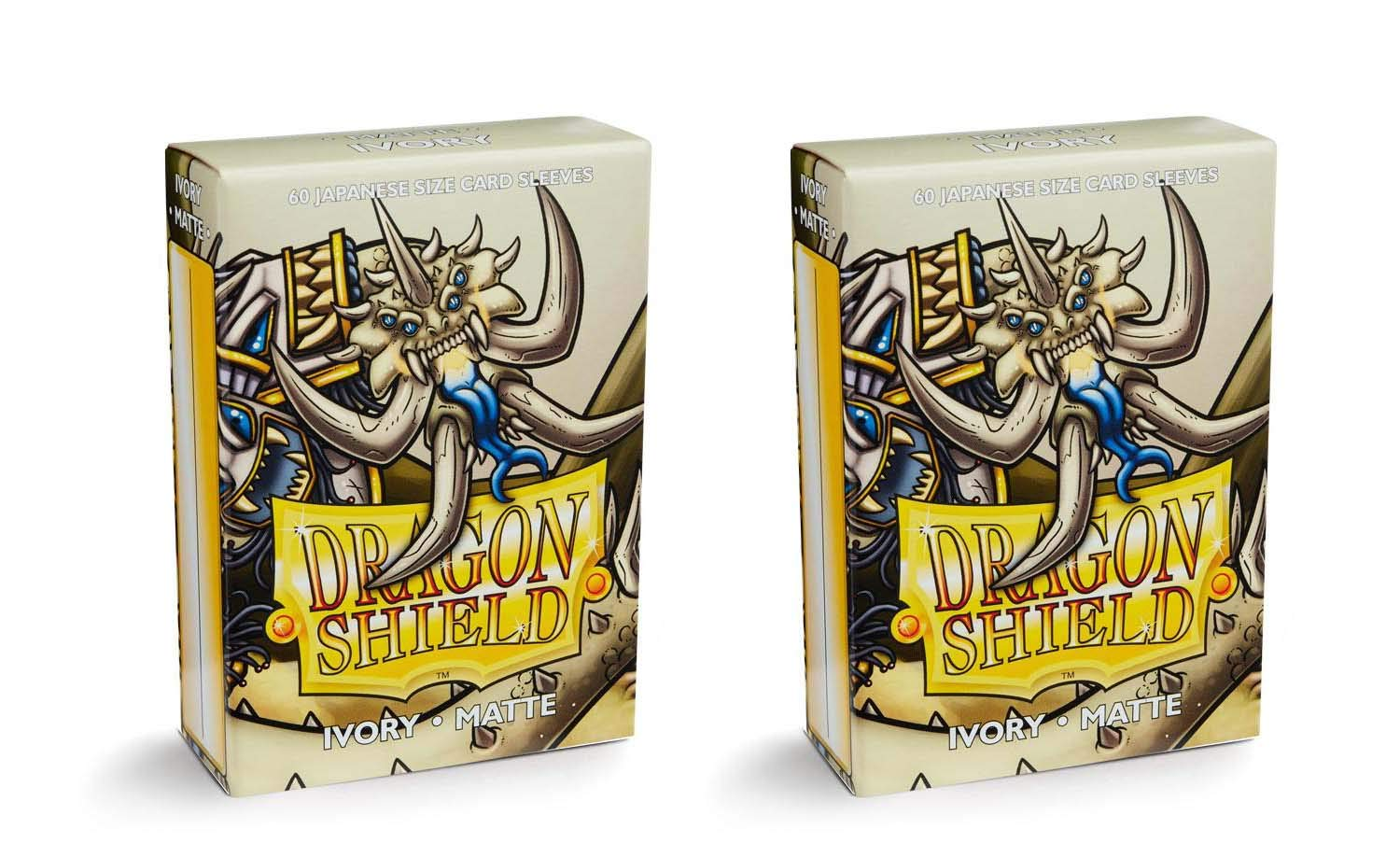 Dragon Shield Bundle: 2 Packs of 60 Count Japanese Size Mini Matte Card Sleeves - Matte Ivory