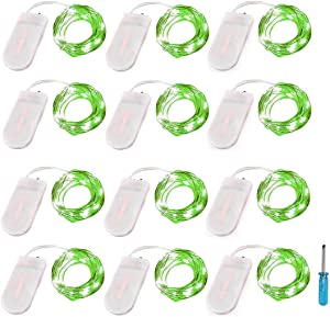LRCXL Pack of 12 LED Battery Operated Lights 20 Micro Starry LEDs on Silver Wire,2 x CR2032 Batteries Included,6.5 Ft (2m) for Halloween Party DIY Wedding Centerpiece or Table Decorations (Green)