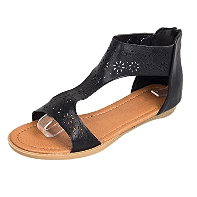 b5eca0bfdb180 Tefamore Women Gladiator Sandal Back Zip Closure Insole Sandal🍒🍒 Closure  and Moderate Rubber Round