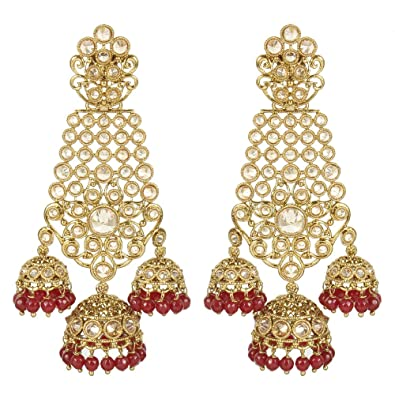 MUCHMORE Indian Glamorous Style Gold Plated Party Wear Polki/Jhumka Earring Jewellery For Women gN0XEWukH
