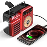 Emergency Radio,FaRuiX Hand Crank Solar Weather Radio with LED Flashlight,Bluetooth Speaker,Alarm Clock,SOS Alert,AM/FM/NOAA,