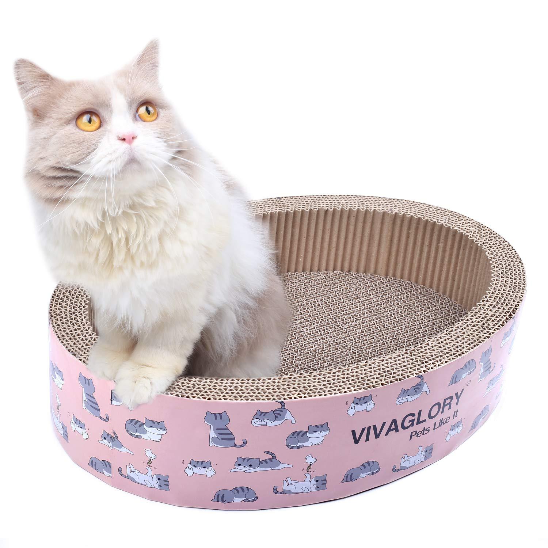 Brown Vivaglory Cat Scratcher Lounge Oval Cardboard Scratch Bed Scratching Box with Catnip