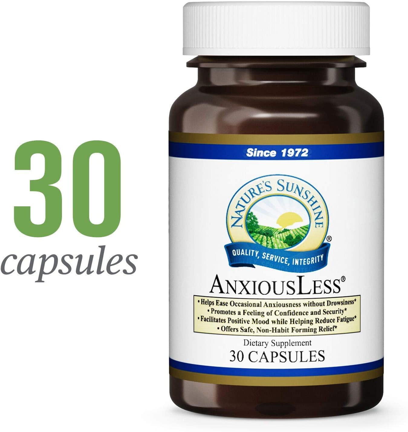 Nature s Sunshine AnxiousLess, 30 Capsules Natural Stress Relief Supplement to Provide Occasional Anxiety Relief and Promote a Natural Calm