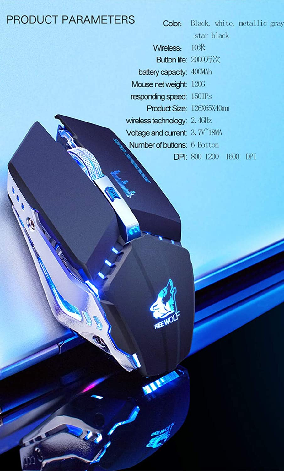 Chezaa 2.4GHz Wireless Mute Rechargeable Mouse LED Backlit 1600DPI Mechanical Mouse,Gamer Desktop Laptop PC Gaming Mouse,for Windows 7//8//10//XP Vista Linux