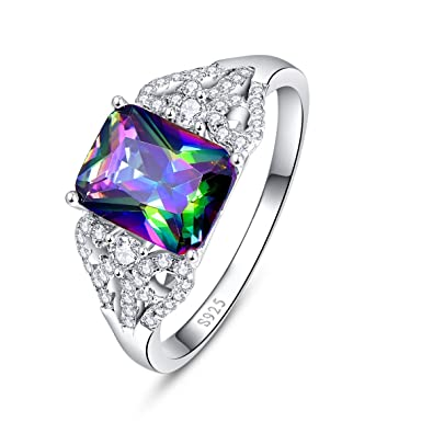Bonlavie Solitaire 925 Sterling Silver Engagement Ring with 10*14mm Oval Cut Created Mystic Rainbow Topaz BFLZR5hC