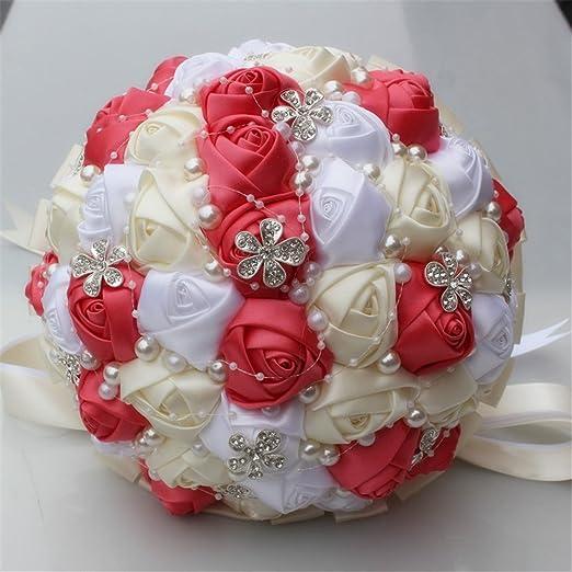 Bridal Bridesmaid Bouquet Silk Crystal Ribbon Pearl Wedding Rose Holding Flowers