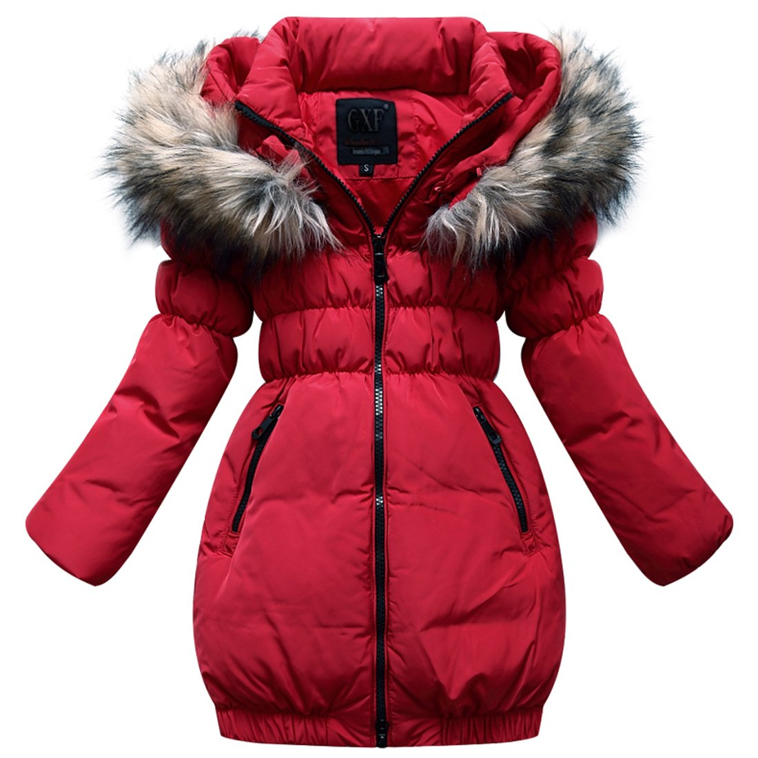 MISSMAY Kids Girls' Down Puffer Jacket Parka Coat Hood Fur Outwear XXL Red