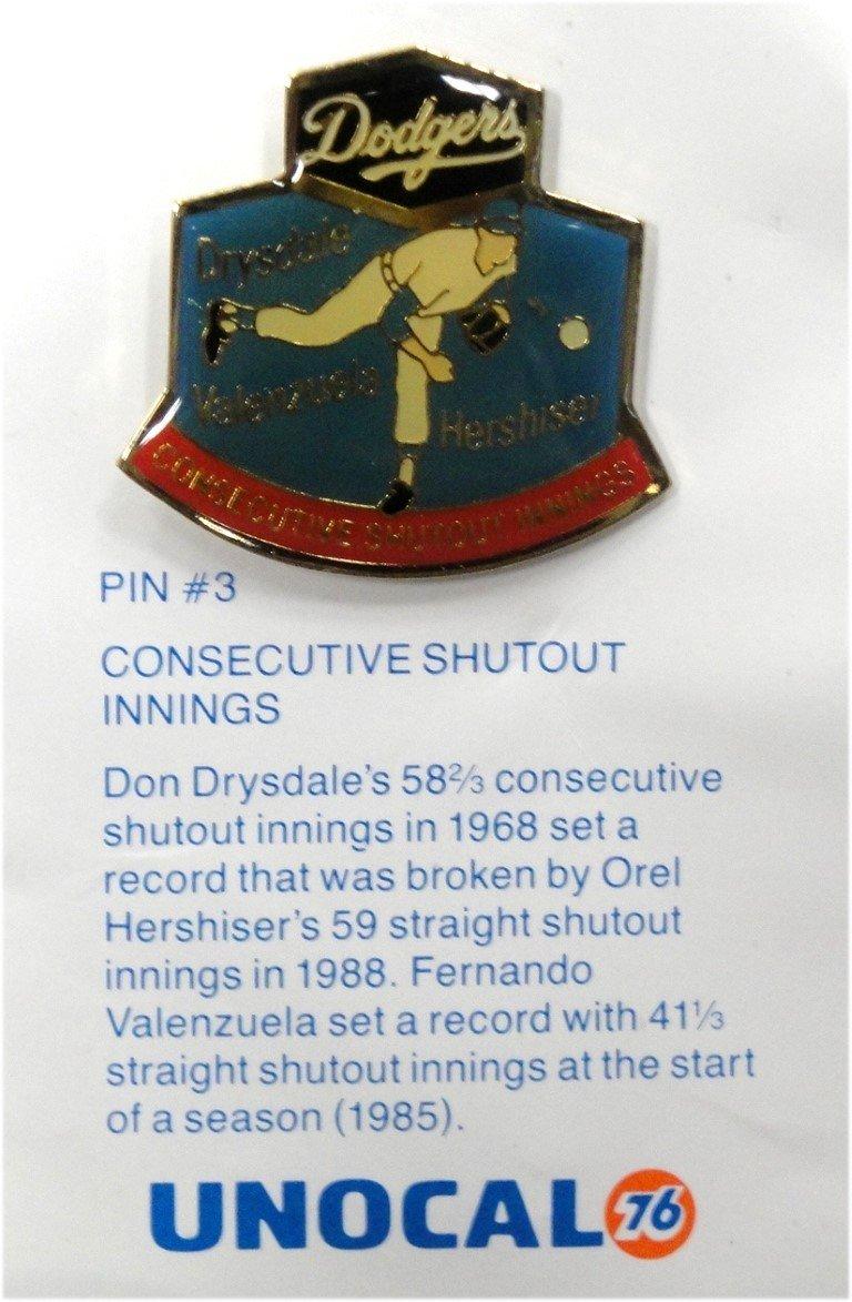 Valenzuela Drysdale Hershiser LA Dodgers Unocal 76 Consecutive Shutout 1 Pin