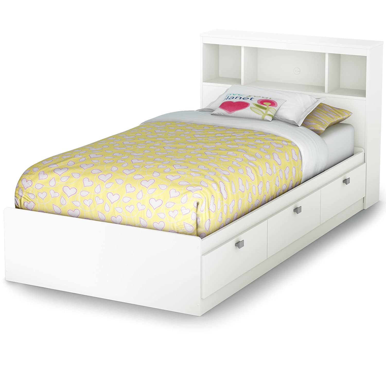 amazoncom south shore south shore spark twin storage bed and bookcase headboard pure white twin pure white kitchen dining