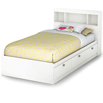 south shore south shore spark twin storage bed and bookcase headboard pure white twin