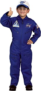 Aeromax Jr. NASA Flight Suit, Blue, with Embroidered Cap and official looking patches, size 4/6.