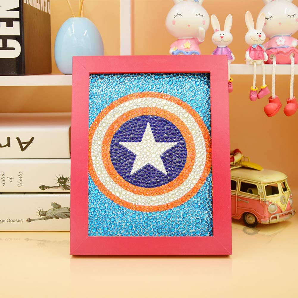 MYSNKU DIY Diamond Painting for Kids Full Drill Painting by Number Kits Arts Crafts Shimmer and Shine Sparkle Mosaics Sticker for Home Wall Decor Gifts for Christmas Birthday (Captain America Shield)